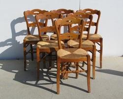 Lot de 6 chaises en orme, claires, paillées