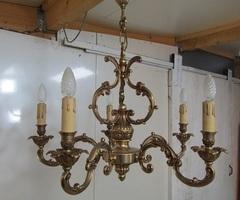 Lustre bronze 5 feux , style Rocaille