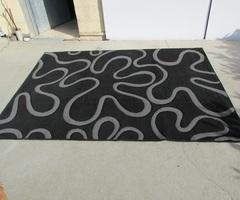 Tapis contemporain , noir et gris , 230 x 170 cm
