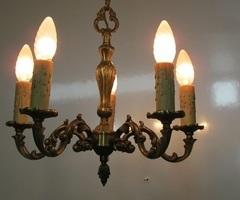 Lustre bronze, 5 feux, vintage