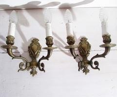 Paire d'appliques murales en bronze, électrifiées