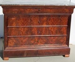 Commode ancienne Louis Philippe, acajou flammé de Cuba, 5 tiroirs, vendue