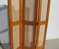 Paravent 3 vantaux , chêne et cannage , vendu