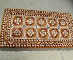 Petit tapis géométrique orangé, vintage