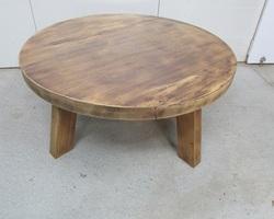 Grande table basse ronde brutaliste ,en chêne exotique 1960s