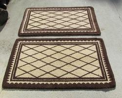 Paire de tapis losanges, marron et beige, 139 x 78 cm