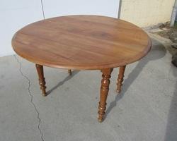 Table ronde en merisier à abattants
