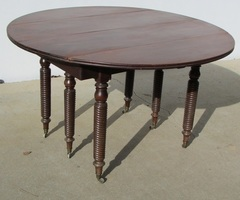 Grande table ronde à abattant, 6 pieds, extensible en acajou