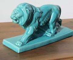 Lion en céramique craquelée turquoise , 20_40