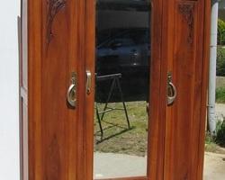 Armoire à glace 3 portes art déco en noyer