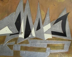Tableau métal moderne , signé JPotage