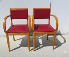 Paire de fauteuils bridge , année 50-60 , en hêtre