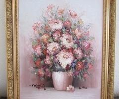 Beau bouquet en relief , peinture sur toile