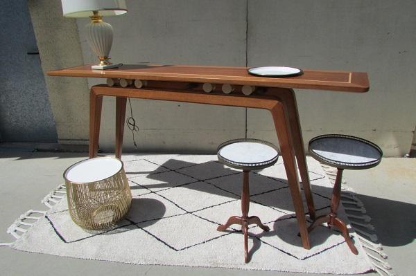 Table console Design, estampillée, acajou et sycomore
