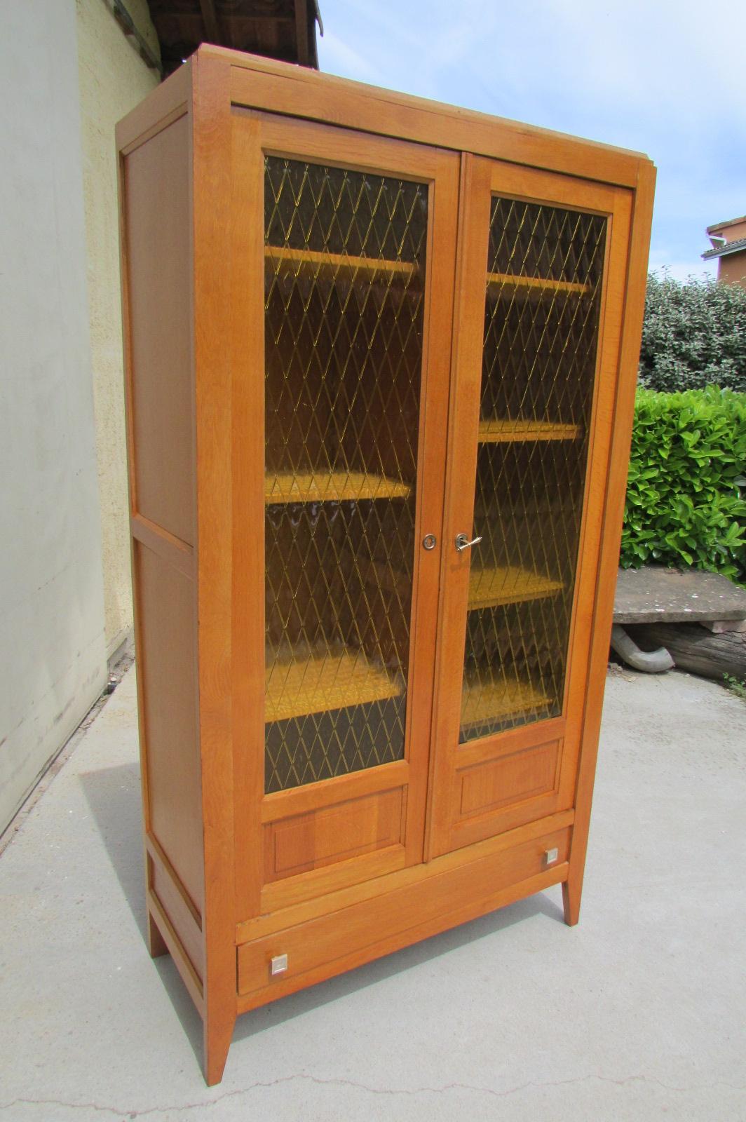 Armoire vitrée , bibliothèque des années 50 , armoire d'école