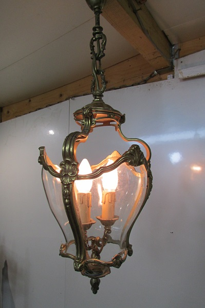 Lanterne , lustre en bronze et verre