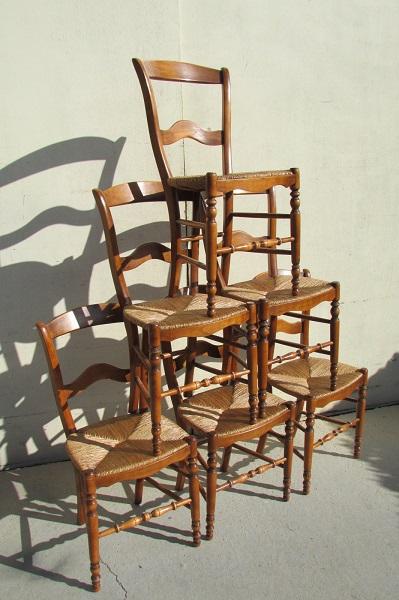 Lot de 6 chaises en hêtre paillées