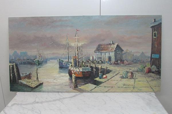Tableau marine , peinture à l'huile, signée BONEN
