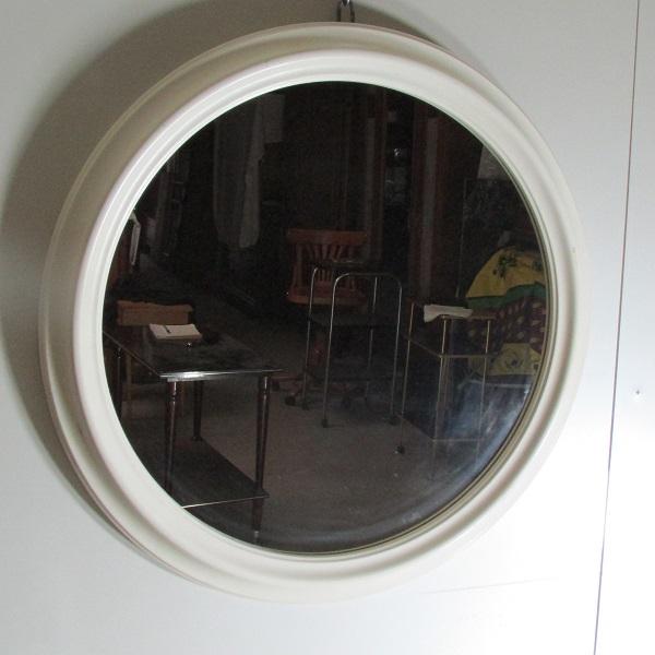 Miroir rond blanc séventies , diamètre 64cm