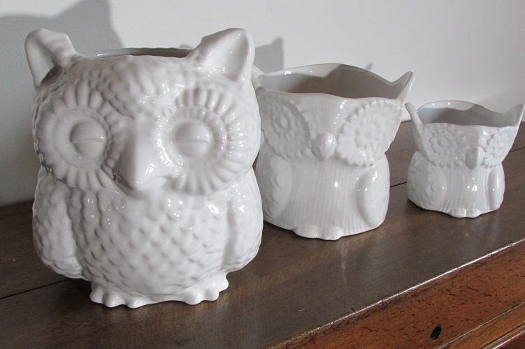 Lot de 3 chouettes en céramiques, cache-pots hibou