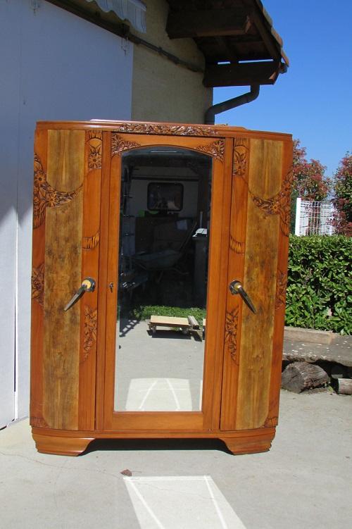 Armoire 3 portes des années 30-40 Art Déco
