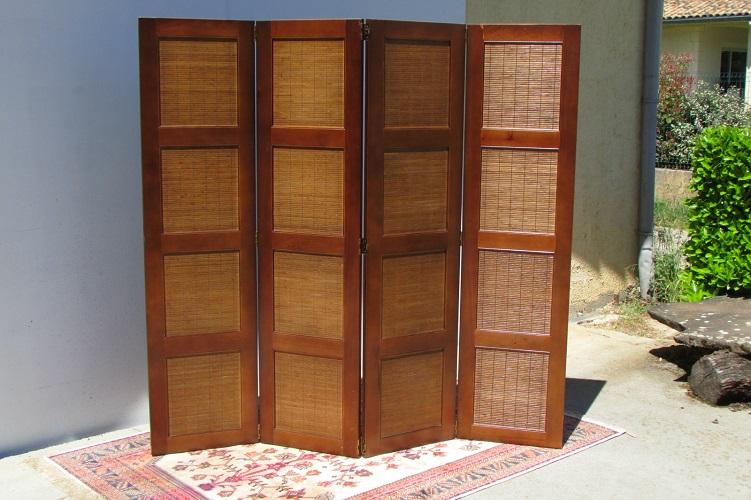 Paravent 4 vantaux en merisier et bambou