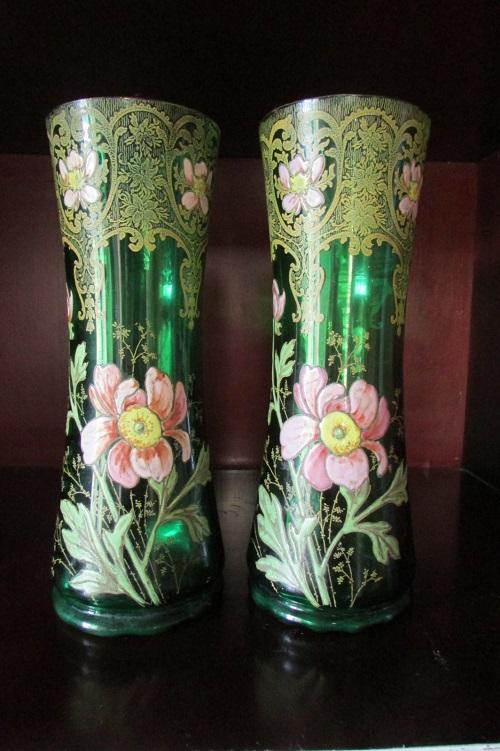 Paire de vases Legras, pavots et dentelle