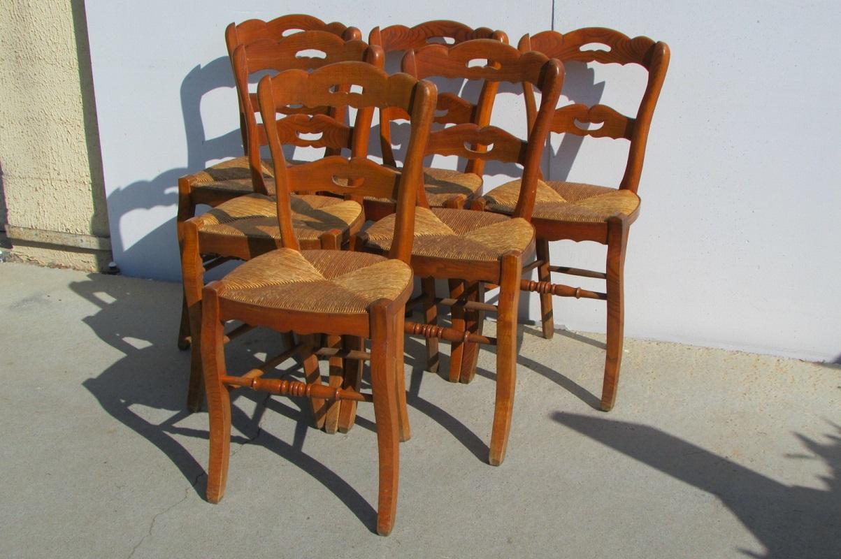Lot de 6 chaises en orme, claires, paillées , 285 €