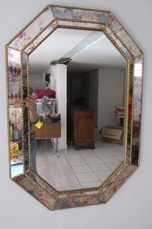 Miroir octogonal à parecloses, eglomisé